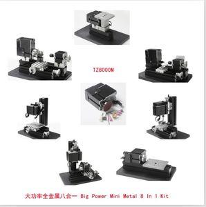 TZ8000M 60W Metallo 8 in 1 Mini tornio 60W, 12000rpm Mini 8 in1 tornio Kit Tornio in metallo Foratura, fresatura, levigatrice