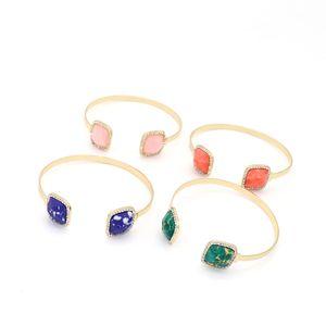 Fashion Square Stone Bracciale Bangle rosa Crystal Gold Colore Druzy Bracciale Bangle Jewelry Donna
