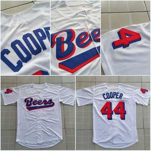 Hommes Joe Coop Cooper # 44 BASEketball BEERS Film Jersey Boutonné Blanc Maillots De Baseball Haute Qualité Livraison Gratuite