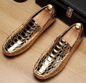 Lüks Altın Erkekler Loafer Gümüş Moccasin Ayakkabı Adam Siyah Boş Eğilimleri Timsah Desen N1X61 On Fashion Forward Slip, Ayakkabı