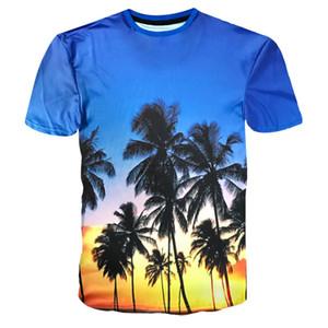 2018 Fashion Mens Summer Brand-Abbigliamento T-shirt Uomo Hawaii stile 3D Print Beach T shirt uomo Slim Fit vestiti Beachwear