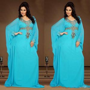 Jade blue Evening Gowns Chiffon Kaftan Dubai Arabian Dress Beading Long Sleeves Fitted Muslim Mother of the Bride Dresses Plus Size