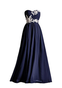 Dark Navy Long Bridesmaid Dresses Applique Beading Sequins Floor Length Sweetheart Green Red Pink Blue Robe De Soiree Prom Dress