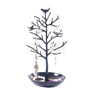 Black Birds Tree Tablero de la exhibición de la joyería Collar Pendiente Soportes Anillo Pulsera Titular de la joyería Organizador del árbol Torre Rack