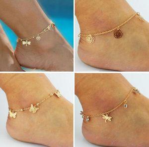 A buon mercato Sandali a piedi nudi per scarpe da sposa Sandel Anklet catena più caldo tratto oro Toe Ring perline da sposa da sposa gioielli da damigella d'onore piede