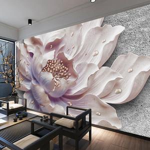 Özel Duvar Duvar Kağıdı 3D Stereoskopik Rölyef Şakayık Takı Çiçek Duvar Boyama Çalışması Yatak Oturma Odası Fotoğraf Duvar Kağıdı