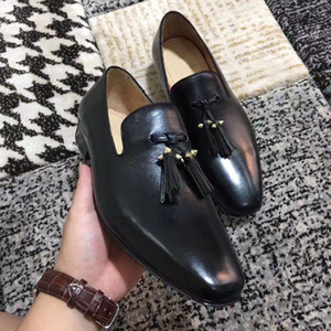 Vali BF Hediye Karahindiba Püskül Düz Siyah Deri Kırmızı Alt Loafer'lar Ayakkabı Yüksek Kalite Parti Elbise Düğün Yürüyüş Üzerinde Kayma EU35-46