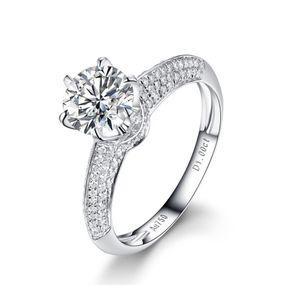 Classic 6 Claws Luxury Group Setting Lab Diamond Moissanite Anelli da donna D / F Colore VVS Test Positivo Certificato Diamond Incluso certificato