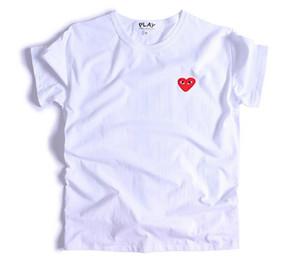 designer uomini di alta qualità C-D-G tee Comme des Garçons cotone stampato cuore camicia nera con cappuccio da uomo e donna spruzzi maglietta