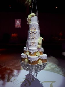 """Diâmetro 60 cm 24 """"De Vidro Estilo Lustre de Cristal do candelabro suspenso Balanço do bolo de casamento stand rodada Acrílico Decoração de mesa Principal"""