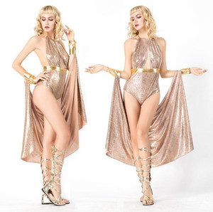 Haute Qualité Cleopatra Costumes Sexy Reine Vêtements Grec Déesse Cosplay Party Dress Athena Costume Halloween Pour Les Femmes
