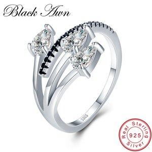 [SCHWARZ AWN] Echt 925 Sterling Silber Schmuck Trendy Elegante Verlobungsring Schwarz Spinell Hochzeit Ringe für Frauen G007 Y18102510