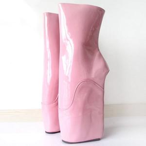 Kadın Çizmeler Seksi Kama Bale Çizmeler 18 CM Yüksek Topuk Zip Heelless Fetiş Ayak Bileği Çizmeler Artı Boyutu Kadın Ayakka ...