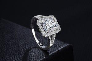 Luxury Women Big Cut Diamonique CZ Zircon 18K White Gold Filled Wedding Finger Party Ring Promise Ring