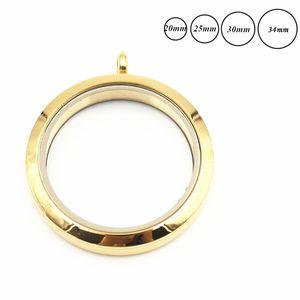 لون الذهب عادي تويست برغي العائمة المدلاة 316L الفولاذ المقاوم للصدأ العائمة الذاكرة زجاج المنجد قلادة دروبشيبينغ!