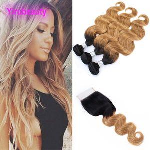 Монгольские волосы девственницы 9А Связка человеческих волос С 4X4 Lace Closure 1B / 27 Body Wave Связкой с закрытием 1B 27 Top Closure с узелками