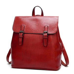 Unisex backpack Latest High quality PU leather student school travel bag women vintage black For Girls Teenagers