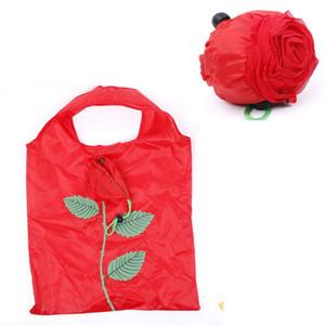 Hot Eco Storage Handtasche Rose Blumen Form Faltbare Einkaufstaschen wiederverwendbare faltbare Lebensmittelgeschäft Nylon große Tasche