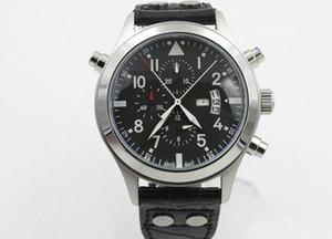 Leather Bracelet New Pilot's Black Dial Chronograph quartz Sport Watch MAN WATCH Wristwatch