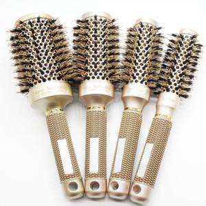 나노 이오니아 멧돼지 머리카락 브러쉬 살롱 빗 배럴 건 드리면 머리 브러쉬 4 크기 Professional Salon 스타일링 도구 B-087
