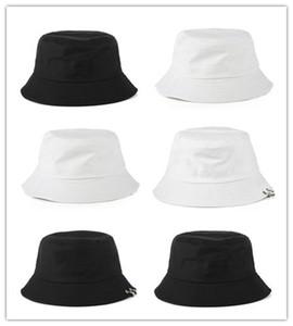 Pas cher Designer Coton Pliable Seau Chapeau Pour Adultes Hommes Femmes Plaine Personnalisé Chapeaux De Pêche Printemps Sunmmer Automne Blanc Plage Sport Sun Visor