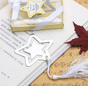 Inicio Party Favor GIft Box Estrella hueca Bookmark con borla blanca para baby shower Bautizo favores de la boda