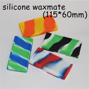 5pcs plats petits conteneurs Waxmate conteneurs en caoutchouc de silicone stockage de silicium Carré cires de cire Dabber Titulaire de l'huile Waxmate conteneur de cire en caoutchouc