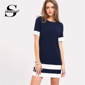 Sheinside Donanma Düz Şerit Kısa Kollu Shift Elbise Bayanlar Renk Blok Yuvarlak Boyun Mini Elbise Kadınlar Yaz Casual Çalışma Elbise