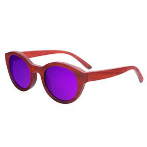 도매 새 빨간 나무 우드 선글라스 여성 나무 태양 안경 숙녀 대나무 선글라스에 대 한 Dropshipping 허용
