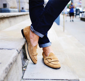 Vintage Style Spitzschuh Wildleder Herren Freizeitschuhe Slip On Doppel Mönch Strap Loafers Hochzeit Business Kleid Schuhe Wohnungen
