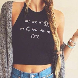 New Summer Sexy Women Ladies Sleeveless Crop Tops Casual Letter Printed Halter Vest Tops Plus Size Blusas S M L XL