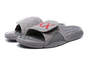 (مع صندوق) 2018 جديد 4 × x Hydro 4 بارد رمادي شباشب صنادل Hydro Slides أحذية كرة السلة أحذية رياضية الوهج حجم 7-13