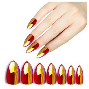 28Pcs Holographic Stiletto False Nails Tips Mirror Chrome Pigment Effect UV Gel Fake Nail Art Tools