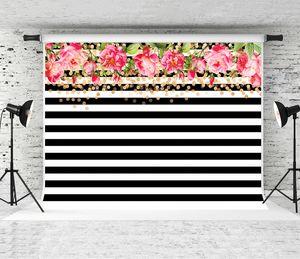 Sonho 7x5ft Black White Strips Backdrops para Fotografia Rosa Flores Pontos de Ouro Prop Festa Do Bebê Da Foto Do Casamento Do Fundo Do Estúdio Pano de Fundo