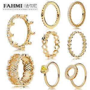 FAHMI 100% 925 Sterling Silver 1: 1 or 18 carats série Glamour Brillante Magie de la Couronne creuse Anneau nid d'abeille de miel Anneau Femmes original