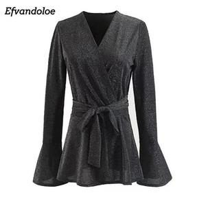 Efvandoloe женская серая длинная рубашка блестящая V-образная шеи с длинным рукавом блузка в рукаве
