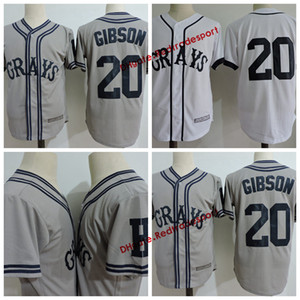 Mens 20 Josh Gibson Grays Jersey The Movie USA Negro Leagues NLBM Homestead Grays Genähte Film Baseball White Jerseys S-3XL