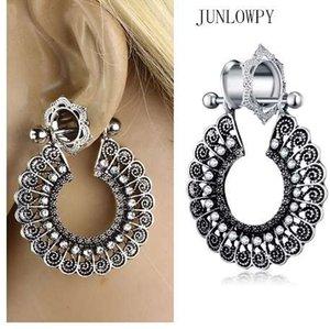 JUNLOWPY Kadın Dangle Küpe Fişler Ve Tüneller Kristal Kulak Göstergeler Piercing Kiti 0G Expabnder Sedyeler Vücut Takı