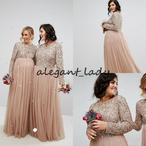Country champagne Long Sequin Bridesmaid Dresses 2019 Long Sleeve Jewel Neck Plus Size Evening Dress A Line Maid Of Honor Dress Maternity