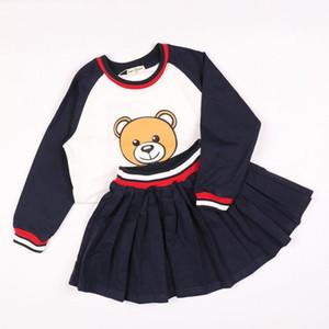 Bebek Kız Spor Giysileri Set Erkek Longsleeve Pantolon Setleri Çocuklar 2 ADET Ceket Çocuk Sevimli Karikatür Ayı Kıyafetler Çocuk Giyim elbise Y1892906