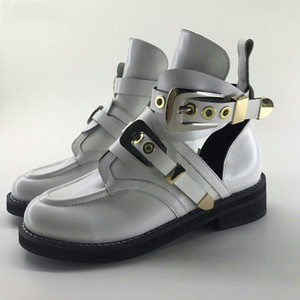 Luxury Shoes Women White Platform Genuine Leather Ankle Motorcycle Boots Riding Cutout Buckle Casual Shoes Size 34-43