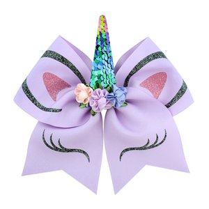 INS Prenses Kız Unicorn JOJO Siwa Cheer Bow ile Ponyrtail Tutucu şerit Saç Bow Kumaş Amigoluk Yaylar Kızlar JOJO hairbands H63