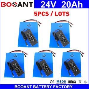 Toptan 5 adet / grup Elektrikli Bisiklet Pil 24 v 20ah 700 w Lityum iyon Pil 30A BMS Dahili 5 adet Şarj ile eBike Pil 24 v