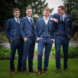 Navy Blue Groom Tuxedos Slim Fit Tailor Made Mens Wedding Party Suits Groomsman Bridegroom Suit(Jacket+Pants+Vest)