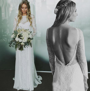 2020 Sexy Backless Lace Long Sleeves Wedding Dresses Applique Jewel Neck Country Bridal Gowns Custom Made Cheap