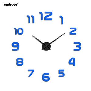 2018 muhsein horloge montre horloges murales horloge 3d diy acrylique miroir autocollants décoration de la maison salon quartz livraison gratuite