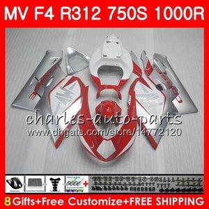 MV 용 Agusta F4 R312 750S 1000 R 750 1000CC 05 06 102HM.0 750 S 1000R 312 1078 1 + 1 MA MV F4 2005 2006 05 06 페어링 키트 핫 레드 실버