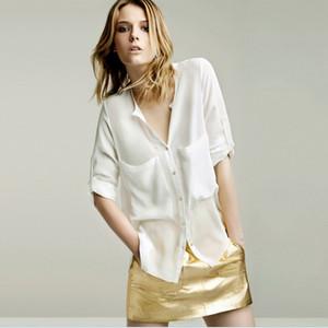 2020 nuevas mujeres blusas de manga corta ocasional de la camisa de la gasa de las muchachas de la blusa de las señoras de la camisa más tapa del tamaño de las mujeres frescas Ropa