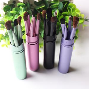 New 5Pcs Eye Makeup Brushes Set Eyeshadow Eyebrow Lipbrush Eyeliner Powder Professional Cosmetic Brush Tool Kit With Round Tube
