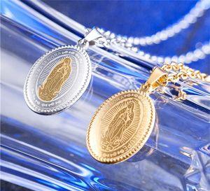 oro argento due tonalità acciaio inox gioielli cattolica religiosa collana pendente La Vergine Maria medaglione per le donne